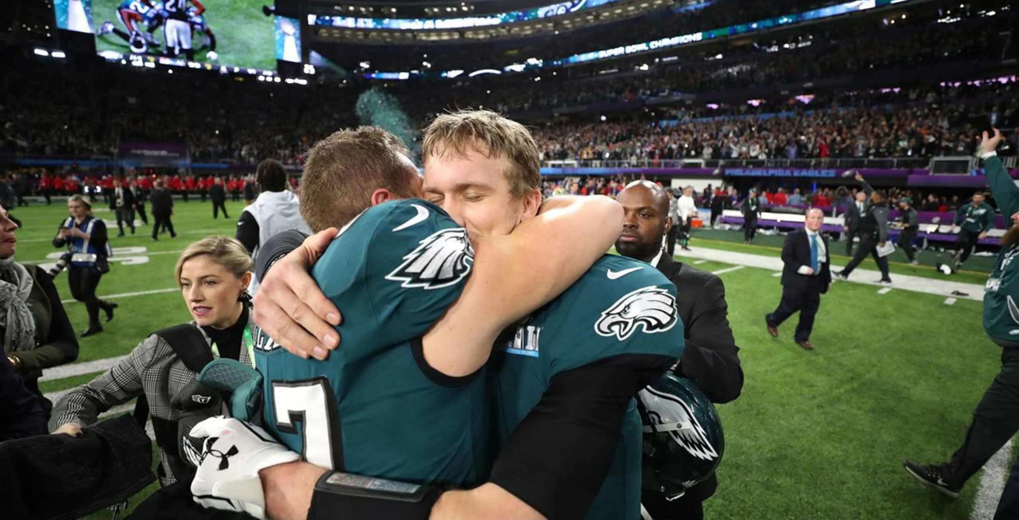 Philadelphia Eagles players after Super Bowl victory