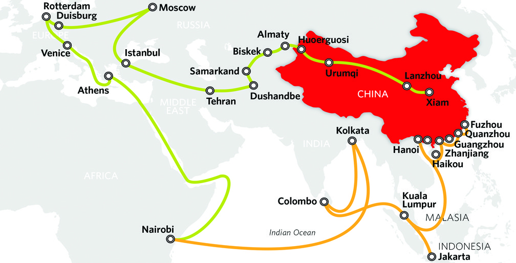Map of China's Belt and Road Initiative
